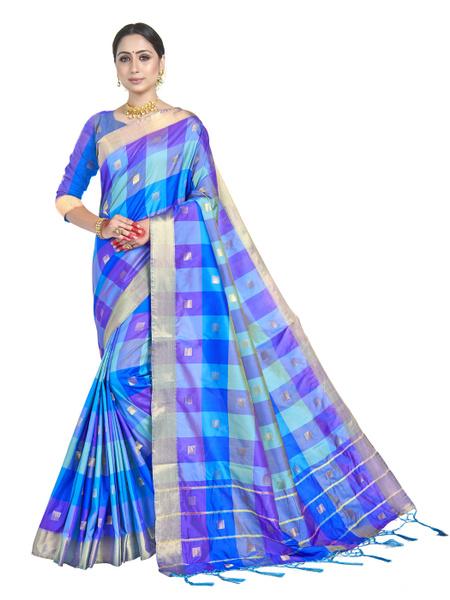 Blues, saree, sari, woven