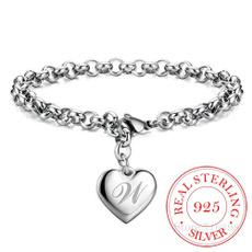 Charm Bracelet, letterwomenbracelet, charmsforbracelet, Heart