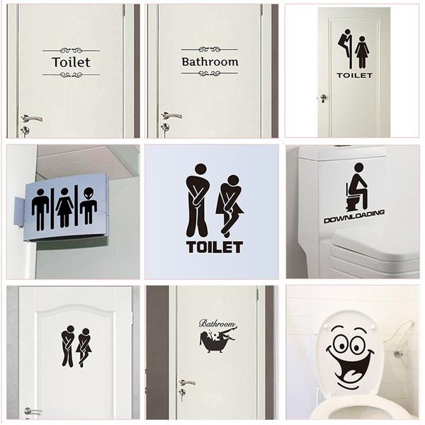 toiletsignsticker, Home & Kitchen, Door, doorsticker