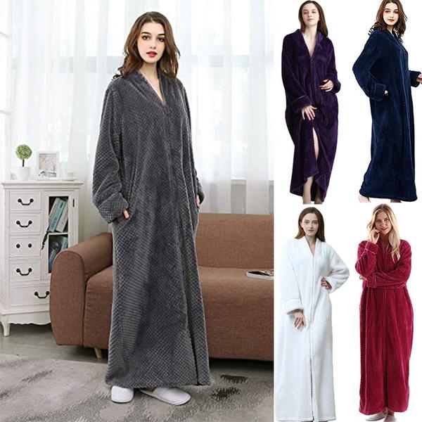 Women S Warm Zip Front Bathrobe Soft
