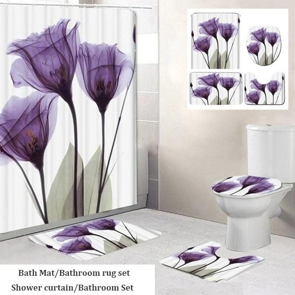 3d Flower Printing Bathroom Shower, Flower Bathroom Sets