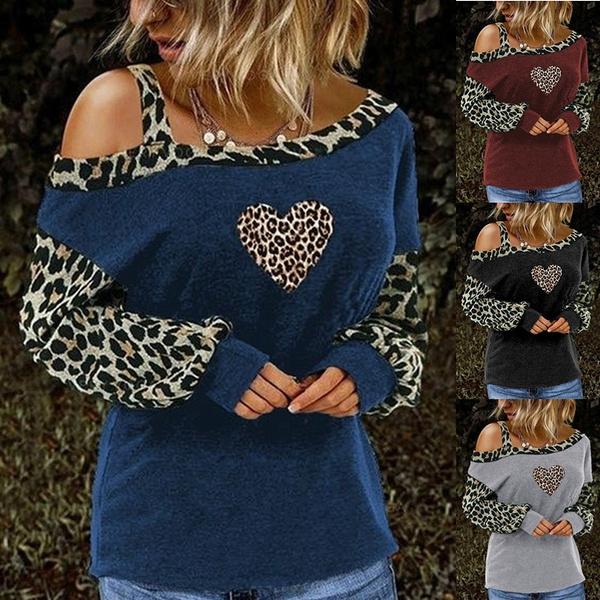 off shoulder top, Plus Size, Tops & Blouses, leopard print