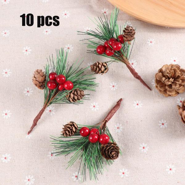 10Pcs Simulation Christmas Pine Picks Stems Needle Berry Plant Xmas Part Decor