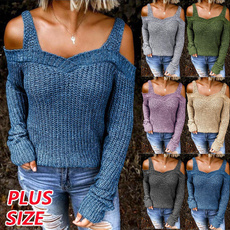 offshouldersweater, Plus Size, knitted, Women's Fashion
