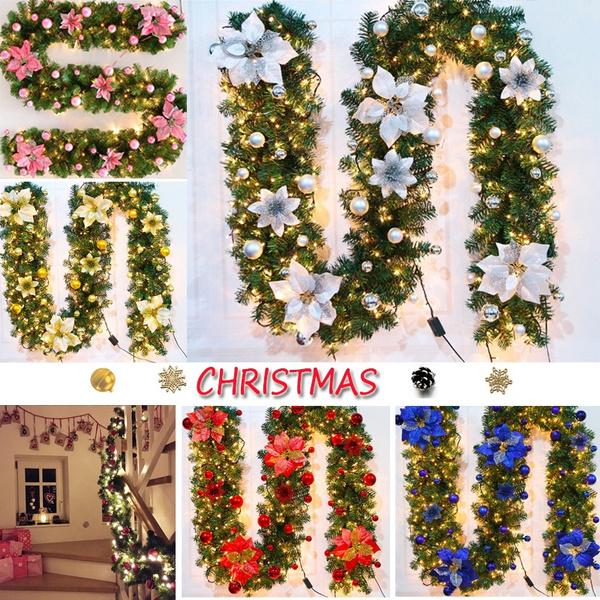 light up, Christmas, Garland, Door