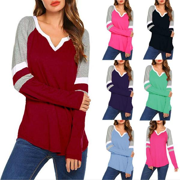 blouse, Splicing, Fashion, Long Sleeve