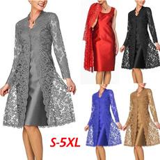 womens dresses, Мереживо, knee length dress, Long Sleeve