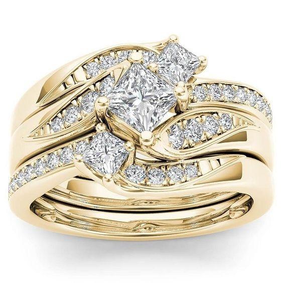 Engagement Wedding Ring Set, gold, crystaljewelryset, anniversaryringsset