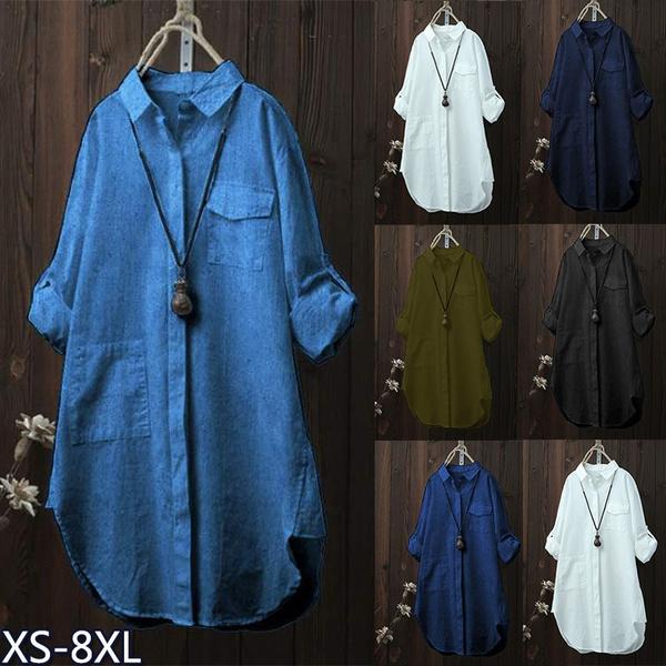 Plus Size, Fashion, Shirt, solid color
