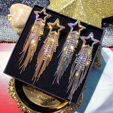Sterling, Star, gold, Stud Earring
