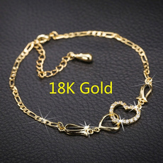 Crystal Bracelet, 18k gold, Pulseras de tobillo, Chain
