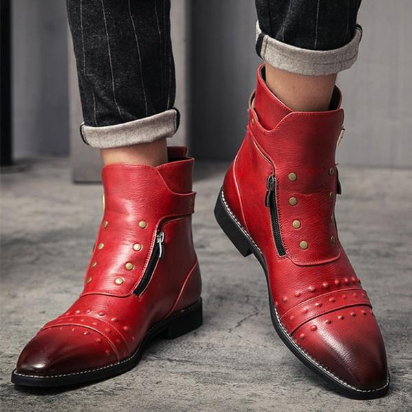 mensleathershortboot, mensdressboot, Zip, casual shoes