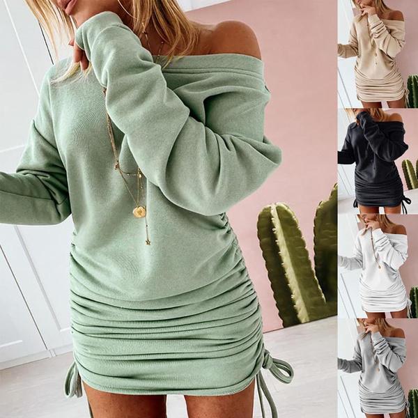Mini, Fashion, hoodiesdresse, Sleeve