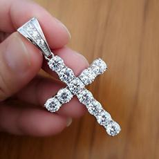 Sterling, DIAMOND, punk necklace, Cross necklace