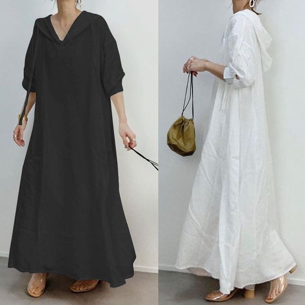 hoodedlongdres, Sleeve, solidcolordres, Long Sleeve