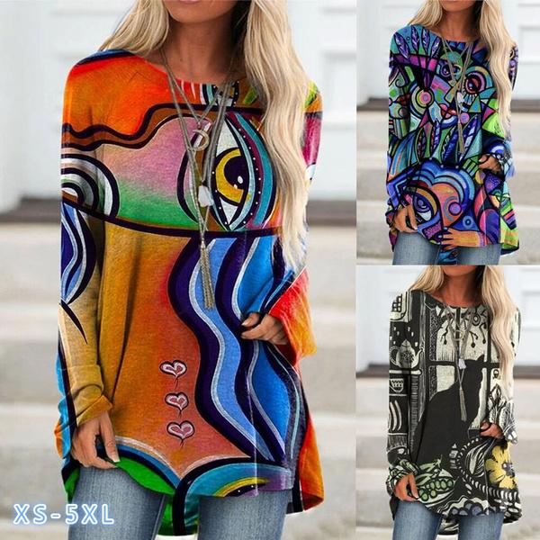 Autumn, Plus Size, Floral print, Shirt