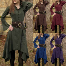 GOTHIC DRESS, Plus Size, Medieval, Long Sleeve
