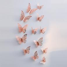 butterfly, Home Decor, gold, 3dwallsticker