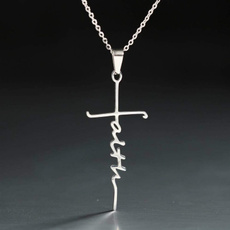 Steel, faith, crossnecklaceforwomen, Cross necklace