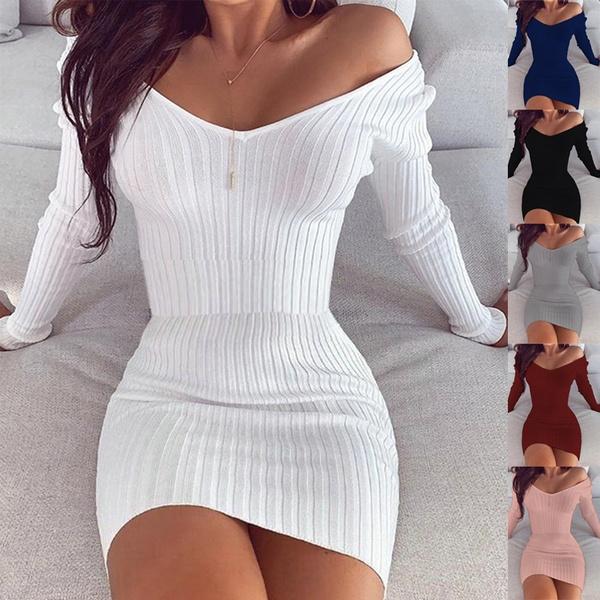 Deep V-Neck, slim dress, Fashion, Winter