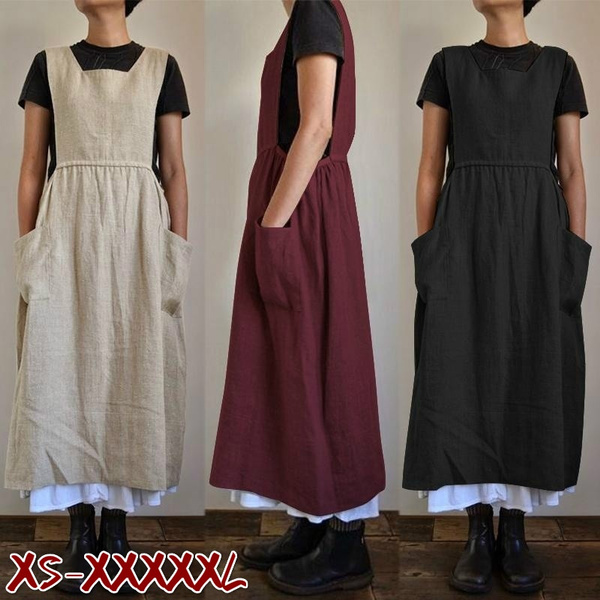 apron, long skirt, Cotton, high waist