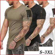 Slim Fit, Cotton T Shirt, Sleeve, Fitness