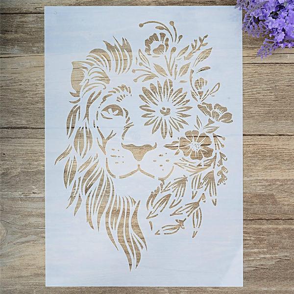 canvassurface, lionstencil, Flowers, art