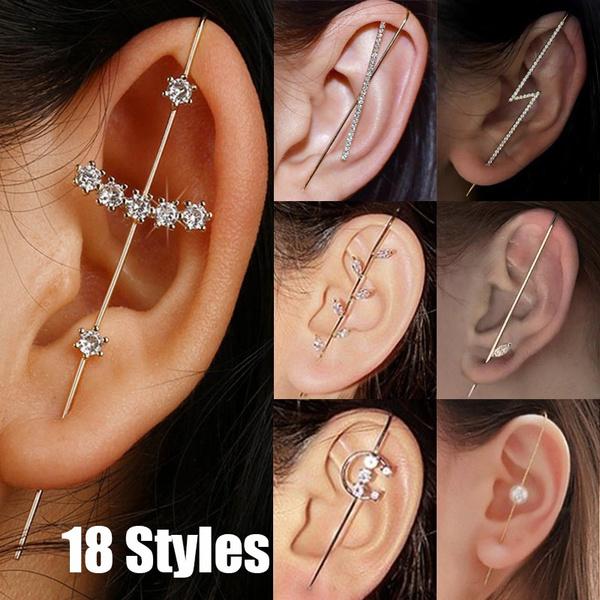 Women Ladies Ear Wrap Crawler Hook Earrings Ear Needles Around Auricle Jewelry P