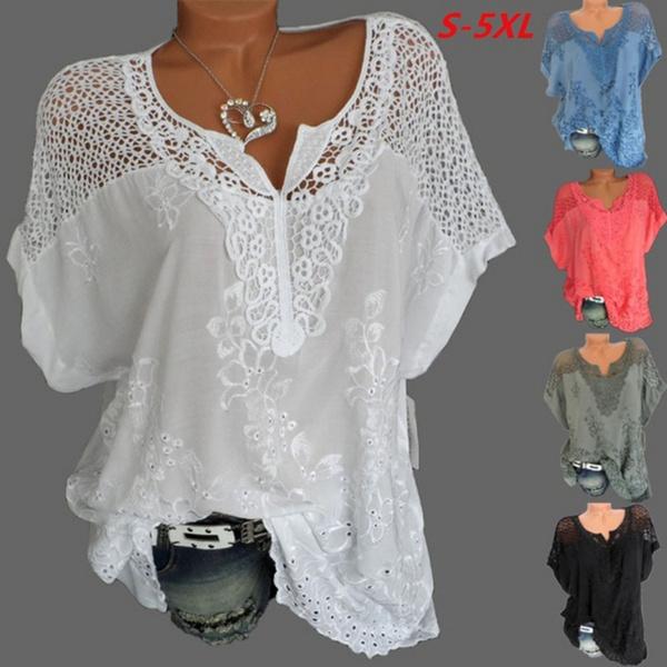 Chiffon Summer Shirt, Fashion, Lace, Sleeve