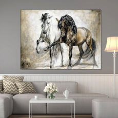 horse, Wall Art, Home, Black And White