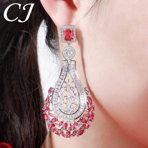 Cubic Zirconia, banquetparty, White Gold Earrings, Lady Fashion