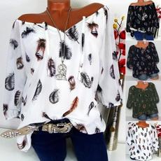 blouse, V Collar, Plus Size, Shirt