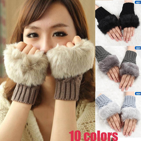 winterwarmglove, fingerlessglove, Fashion, fauxrabbitfurglove
