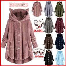 cute, Fleece, Plus Size, Hoodies