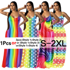 rainbow, halter dress, Fashion, Floral print