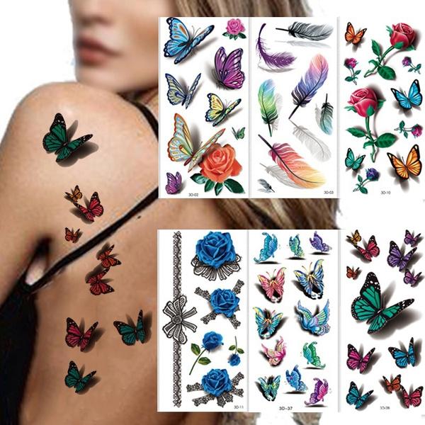 butterfly, tattoodecal, Flowers, waterprooftattoosticker