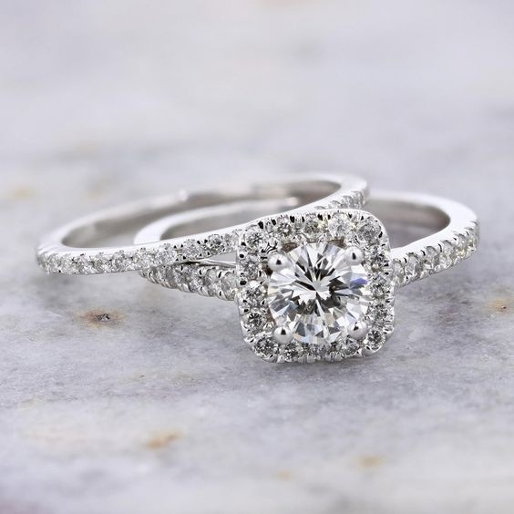 Sterling, DIAMOND, Engagement Ring, ringsset