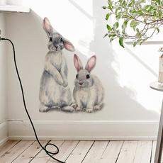 PVC wall stickers, cute, Papel pintado, rabbit