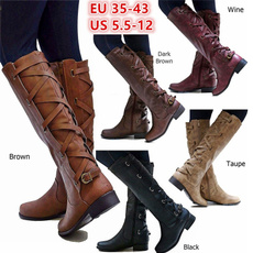 Shoes, Knee High Boots, Plus Size, leather shoes