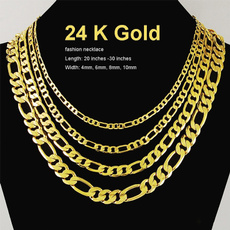 yellow gold, Chain Necklace, figarochain, gold