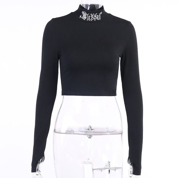 Goth, basictop, crop top, Long Sleeve