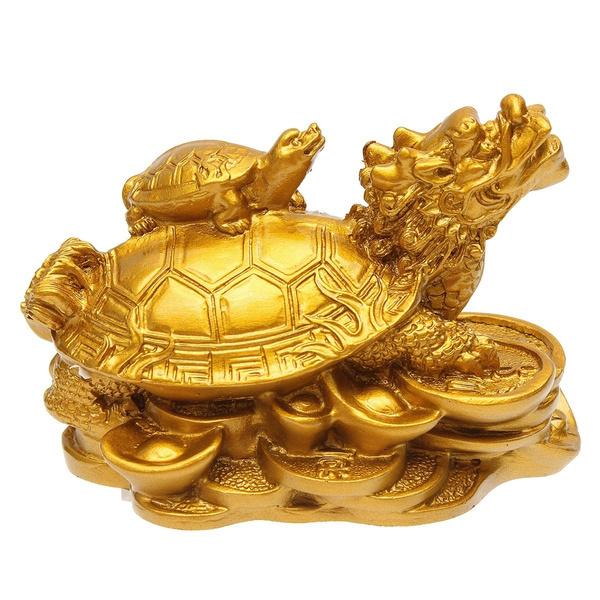 Turtle, Statue, Home Decor, gold