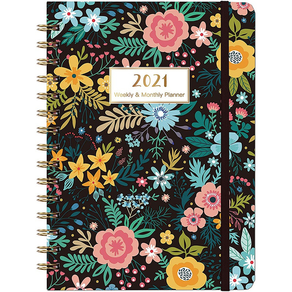20212022monthlypocketplanner, Pocket, Flowers, Elastic