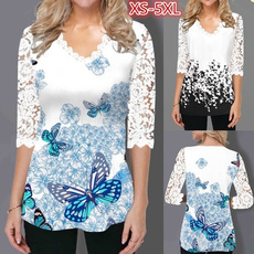 butterfly, blouse, Plus Size, tunic