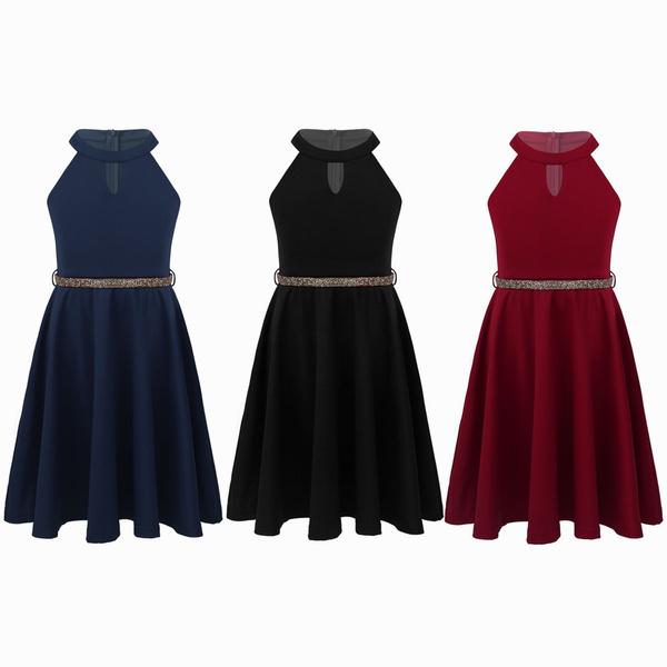 Sleeveless dress, dresswithbelt, halter dress, Necks