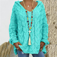 knitted, Plus Size, hooded, sweaters for women