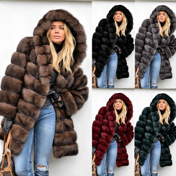 fur coat, hooded, fur, Winter