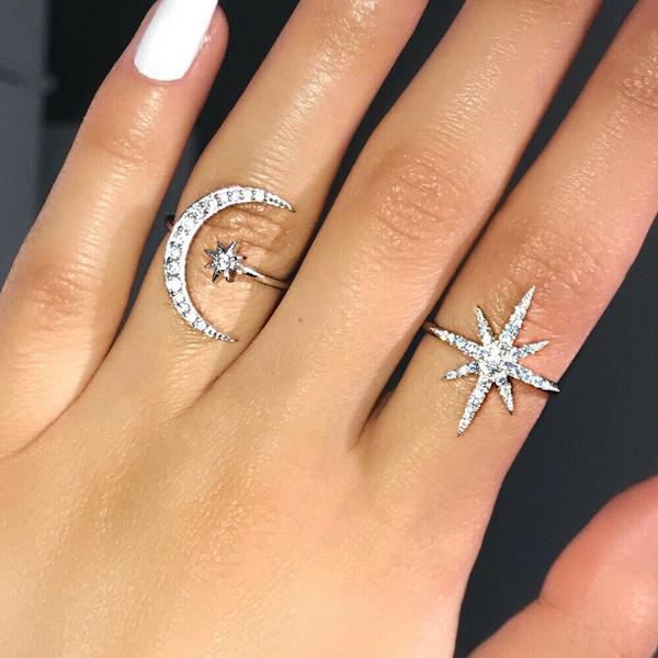 Sterling, adjustablering, DIAMOND, Star