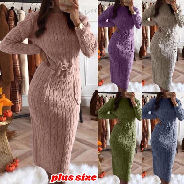 Pocket, Plus Size, sweater dress, Winter