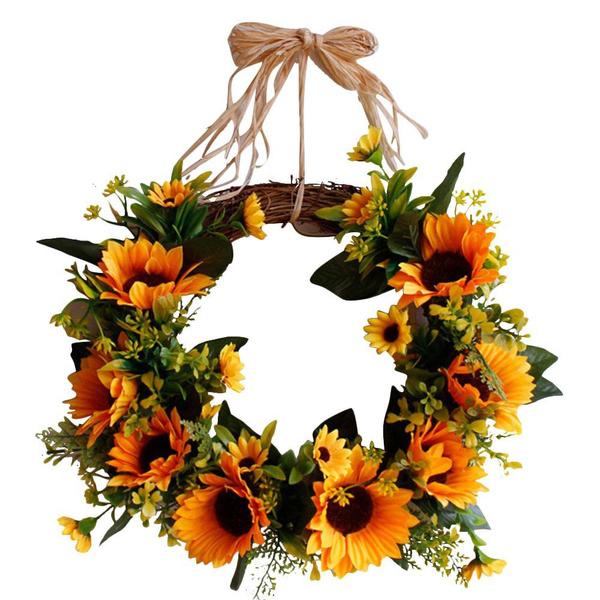 leaves, Decor, Flowers, Door